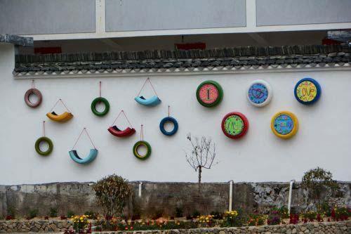 幼儿园轮胎海洋画