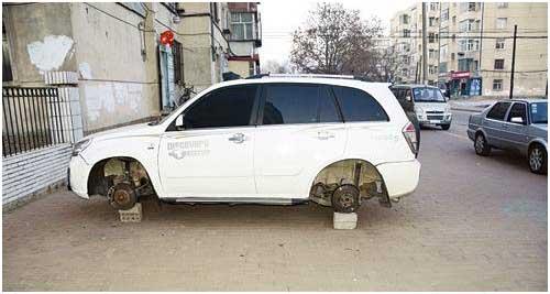 车轮胎被盗_被盗走轮胎的车辆